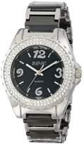 August Steiner Women's AS8036BK Quartz Crystal Ceramic Bracelet Watch