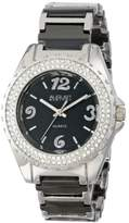 August Steiner Women's AS8036BR Crystal Accented Silver & Brown Ceramic Bracelet Watch