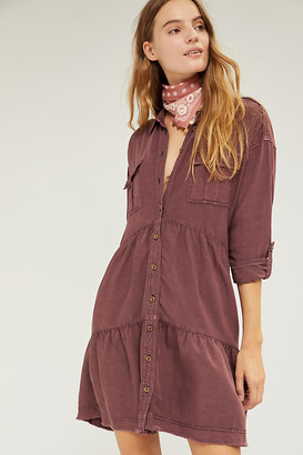 Pilcro And The Letterpress Pilcro Deanne Tiered Mini Shirtdress By in Green Size XS