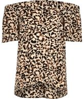 River Island Girls brown leopard print bardot top