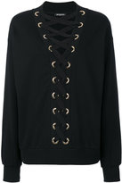 Balmain lace-up sweatshirt - women - Cotton - 36