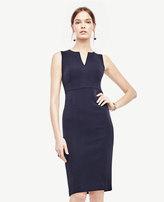 Ann Taylor Doubleweave Split Neck Sheath Dress