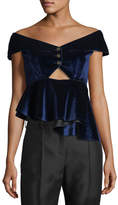 Self-Portrait Off-the-Shoulder Cutout Velvet Peplum Top