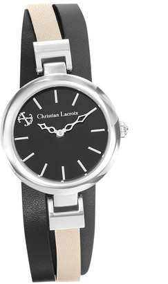 Christian Lacroix Womens Analogue Quartz Watch with Leather Strap CLWE56