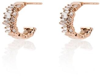 Suzanne Kalan 18kt Gold Layered Huggie Diamond Earrings