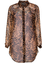 Veto Plus Size Animal print chiffon shirt
