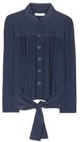 Chloé Cropped silk blouse