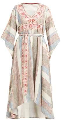 D'Ascoli Bedouin Printed-cotton Kaftan - Womens - Cream Stripe