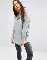 Asos Sweatshirt With Stripe Tipping In Longline