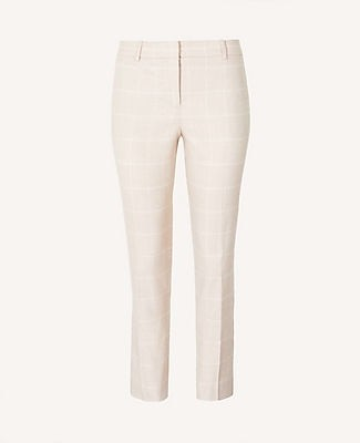 Ann Taylor The Ankle Pant in Windowpane Linen Twill