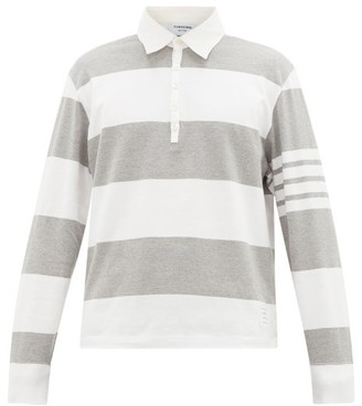 Thom Browne Striped Cotton-jersey Rugby Shirt - Grey