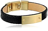 Fossil Leather Gold and Black Plaque Bracelet, 7.5''