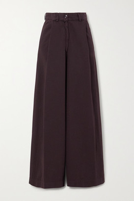 Dries Van Noten Cotton-twill Wide-leg Pants - Plum