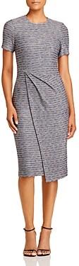 St. John Asymmetric Space-Dye Tweed Midi Dress
