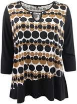 BNY Corner Women's Plus-Size 3/4 Sleeve Polka Dot Keyhole Top Blouse Knit Shirt Brown G160.26L