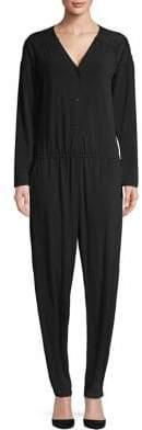 Halston H Long-Sleeve V-Neck Jumpsuit