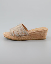 Eric Javits Squishee Braided Raffia Slide Sandal, Natural/Frost