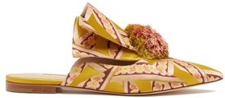 Andrea Mondin - Rebecca Pompom Brocade Mules - Yellow Multi