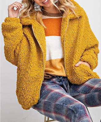 Avenue Hill Women's Fleece Jackets MUSTARD - Mustard Sherpa Zip-Up Jacket - Women