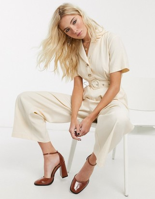 Topshop belted jumpsuit in buttermilk
