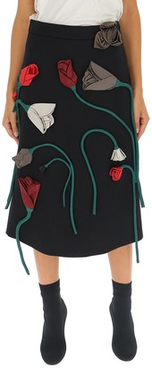 Prada Floral Applique Midi Skirt