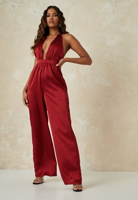 Missguided Burgundy Satin Halterneck Wide Leg Jumpsuit