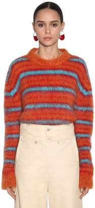 Marni STRIPED MOHAIR BLEND KNIT SWEATER