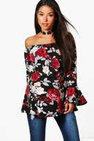 boohoo Maternity Darcey Off The Shoulder Floral Top