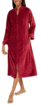 Miss Elaine Women's Petite Jacquard Cuddle Fleece Long Zipper Robe