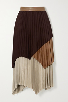 ANDERSSON BELL Gwen Asymmetric Layered Pleated Color-block Crepe Skirt - Brown