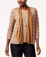 Alfred Dunner Jungle Love Layered-Look Necklace Cardigan