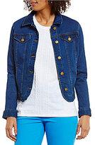 Allison Daley Petites Button Front Denim Jacket