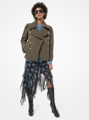 Michael Kors Collection Bonded Wool-and-Cotton Gabardine Military Peacoat