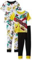 Pokemon Boys' Pikachu 4-Piece Cotton Pajama Set