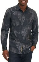 Robert Graham Tiger-Print Long-Sleeve Sport Shirt, Black