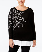 Charter Club Plus Size Embroidered Layered-Look Sweater, Only at Macy's