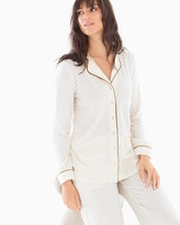 Soma Intimates Long Sleeve Notch Collar Pajama Top Pin Dot Gold Foil Ivory