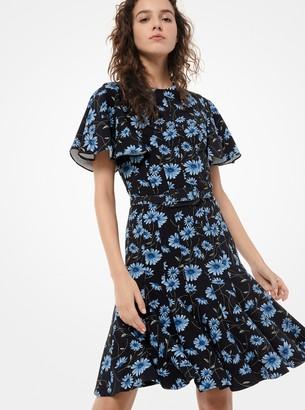 Michael Kors Daisy Stretch-Cady Ruffle Dress