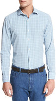 Ermenegildo Zegna Plaid Seersucker Sport Shirt, Bright Blue Check