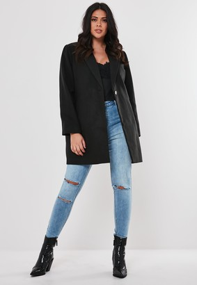 Missguided Plus Size Black Formal Coat