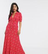 Asos DESIGN Petite short sleeve shirt maxi dress in Red ditsy print