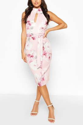 boohoo High Neck Floral Cut Out Detail Midi Dress