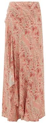 Adriana Degreas Aloe-print Ruffled Tie-front Skirt - Pink Print
