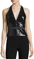 Halston Sequined Halter Top, Black/Gunmetal