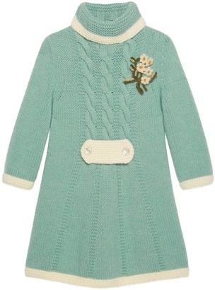 Gucci Short wool dress with floral brooch