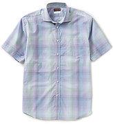 Thomas Dean Ombre Plaid Short-Sleeve Woven Shirt
