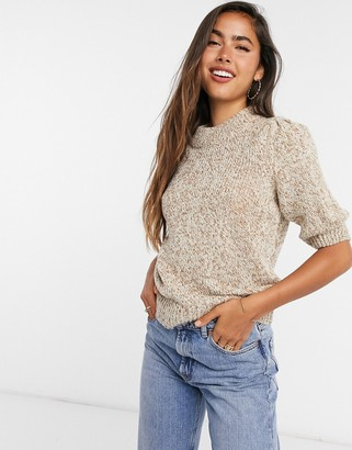 Vila jumper with high neck and puffed sleeves in taupe