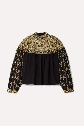Ulla Johnson Kiara Embellished Linen And Cotton-blend Blouse - Black