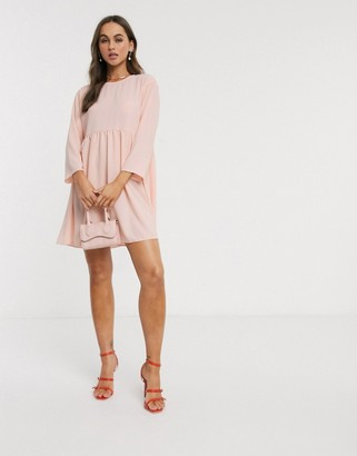 ASOS DESIGN long sleeve smock mini dress in blush