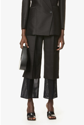 AKIRA NAKA Alma straight-leg high-rise wool and silk-blend trousers
